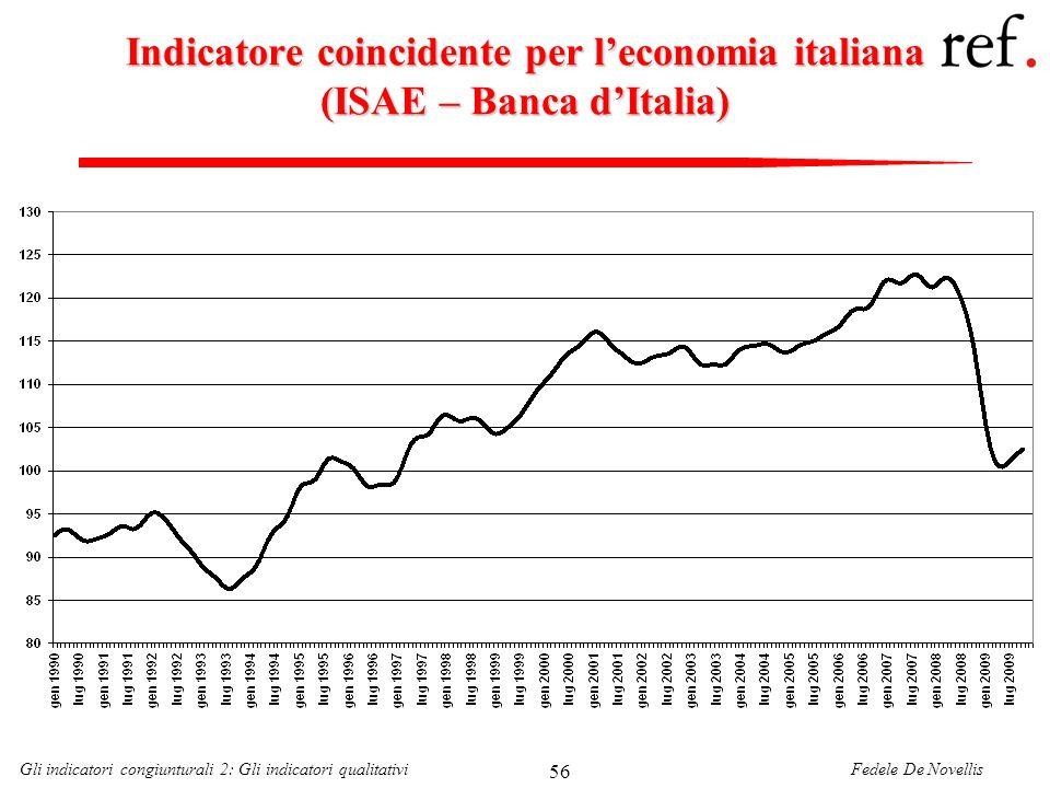 Fedele De NovellisGli indicatori congiunturali 2: Gli indicatori qualitativi 56 Indicatore coincidente per leconomia italiana (ISAE – Banca dItalia)