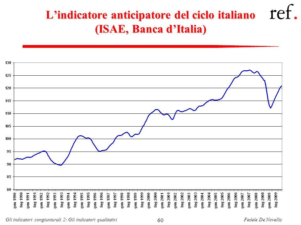 Fedele De NovellisGli indicatori congiunturali 2: Gli indicatori qualitativi 60 Lindicatore anticipatore del ciclo italiano (ISAE, Banca dItalia)