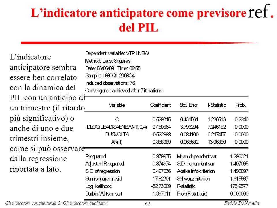 Fedele De NovellisGli indicatori congiunturali 2: Gli indicatori qualitativi 62 Lindicatore anticipatore come previsore del PIL Lindicatore anticipato