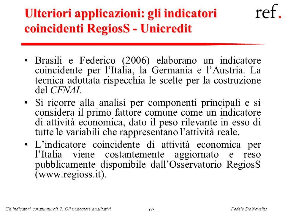 Fedele De NovellisGli indicatori congiunturali 2: Gli indicatori qualitativi 63 Ulteriori applicazioni: gli indicatori coincidenti RegiosS - Unicredit