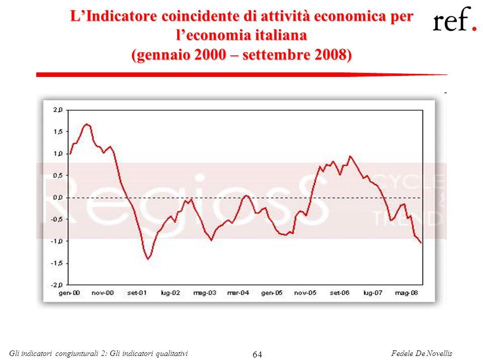 Fedele De NovellisGli indicatori congiunturali 2: Gli indicatori qualitativi 64 LIndicatore coincidente di attività economica per leconomia italiana (