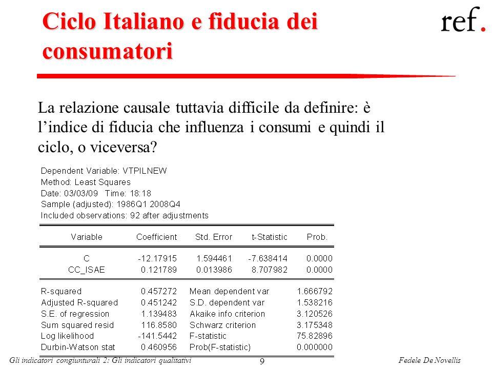 Fedele De NovellisGli indicatori congiunturali 2: Gli indicatori qualitativi 9 Ciclo Italiano e fiducia dei consumatori La relazione causale tuttavia