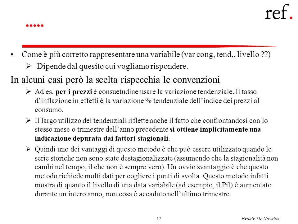 Fedele De Novellis12..... Come è più corretto rappresentare una variabile (var cong, tend,, livello ??) Dipende dal quesito cui vogliamo rispondere. I