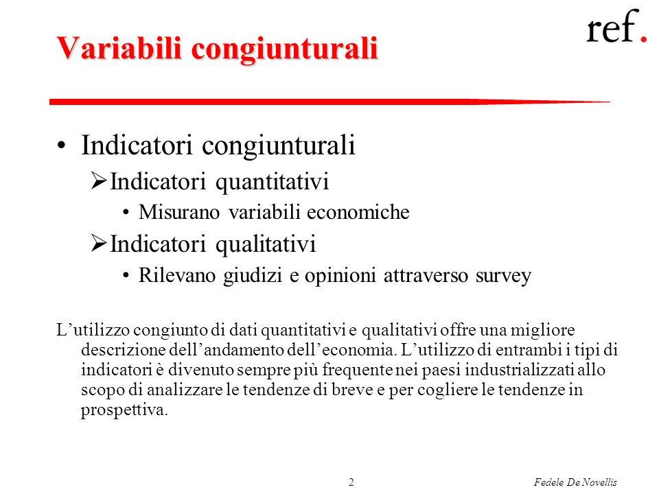 Fedele De Novellis2 Variabili congiunturali Indicatori congiunturali Indicatori quantitativi Misurano variabili economiche Indicatori qualitativi Rile