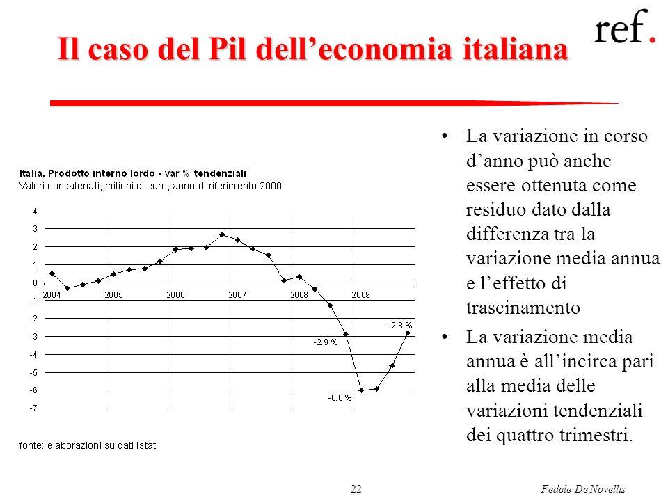 Fedele De Novellis22 Il caso del Pil delleconomia italiana La variazione in corso danno può anche essere ottenuta come residuo dato dalla differenza t