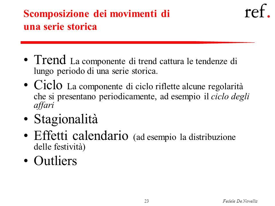 Fedele De Novellis23 Scomposizione dei movimenti di una serie storica Trend La componente di trend cattura le tendenze di lungo periodo di una serie s