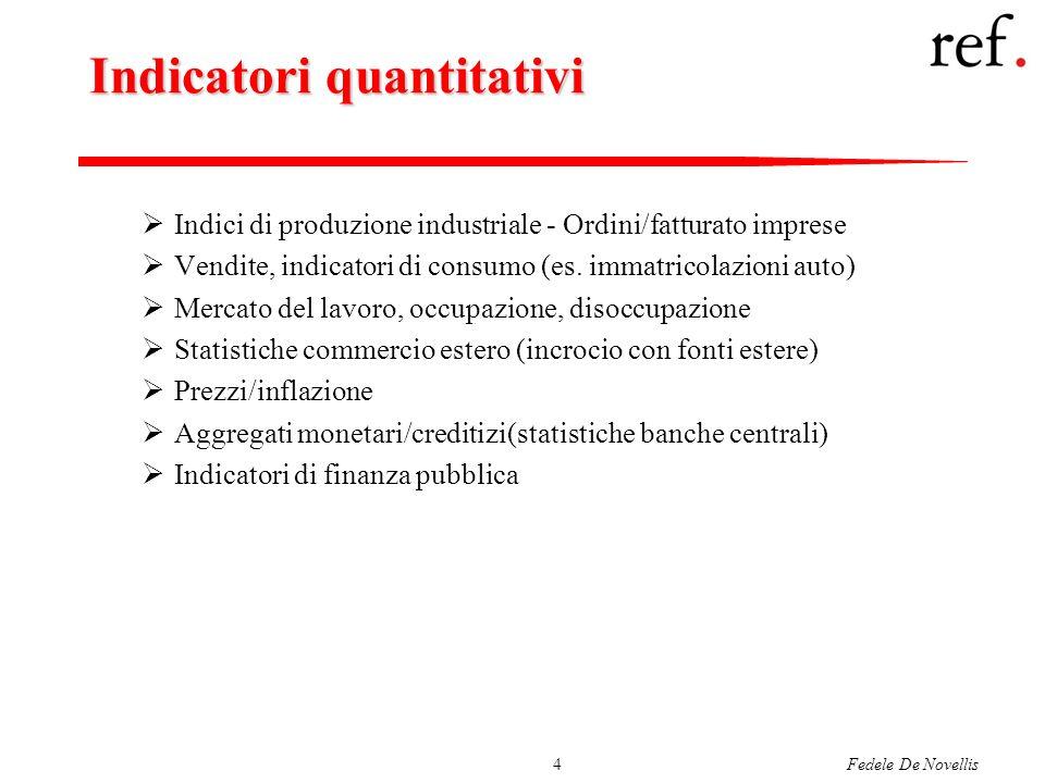 Fedele De Novellis4 Indicatori quantitativi Indici di produzione industriale - Ordini/fatturato imprese Vendite, indicatori di consumo (es. immatricol