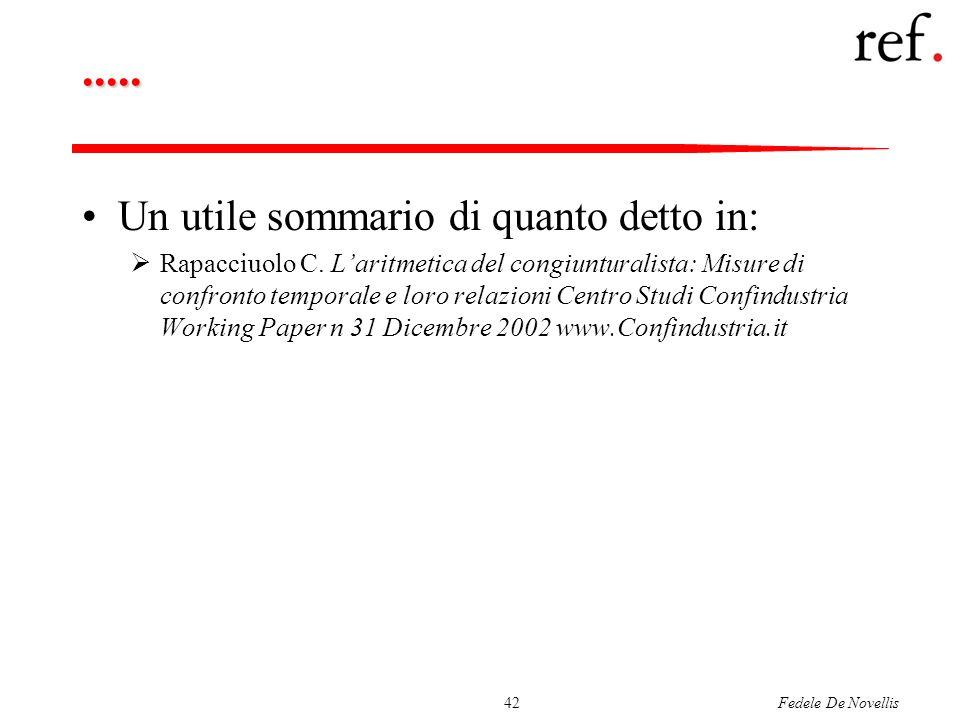 Fedele De Novellis42..... Un utile sommario di quanto detto in: Rapacciuolo C. Laritmetica del congiunturalista: Misure di confronto temporale e loro
