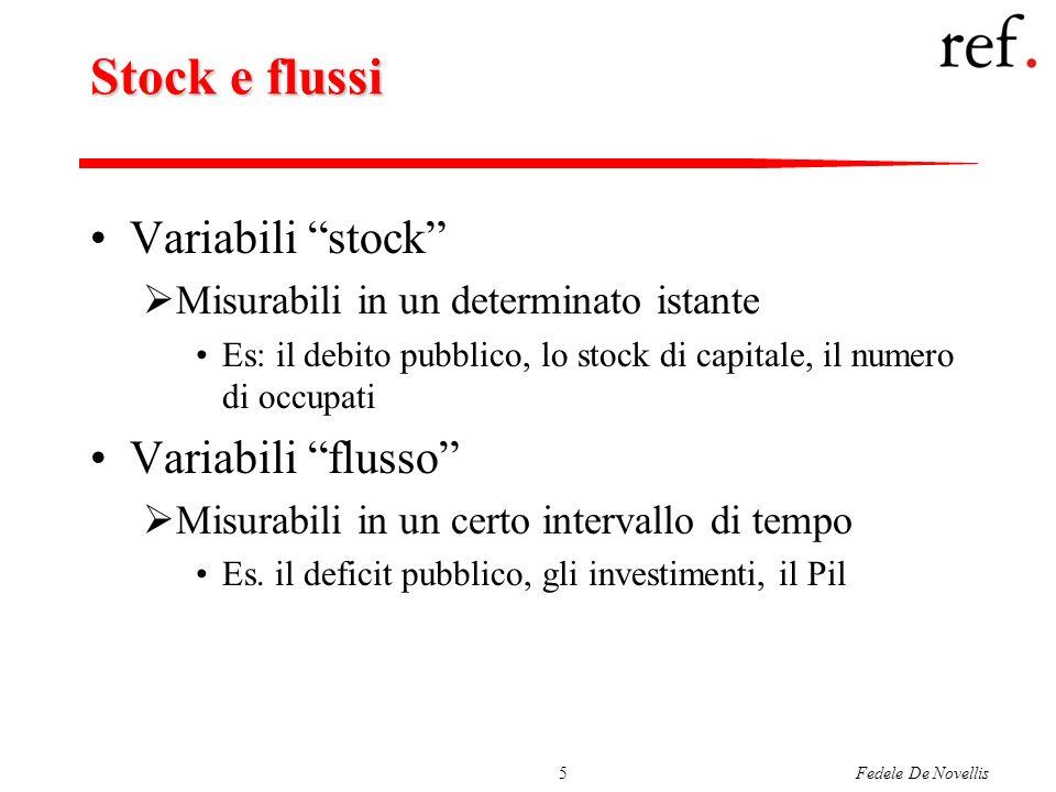Fedele De Novellis5 Stock e flussi Variabili stock Misurabili in un determinato istante Es: il debito pubblico, lo stock di capitale, il numero di occ