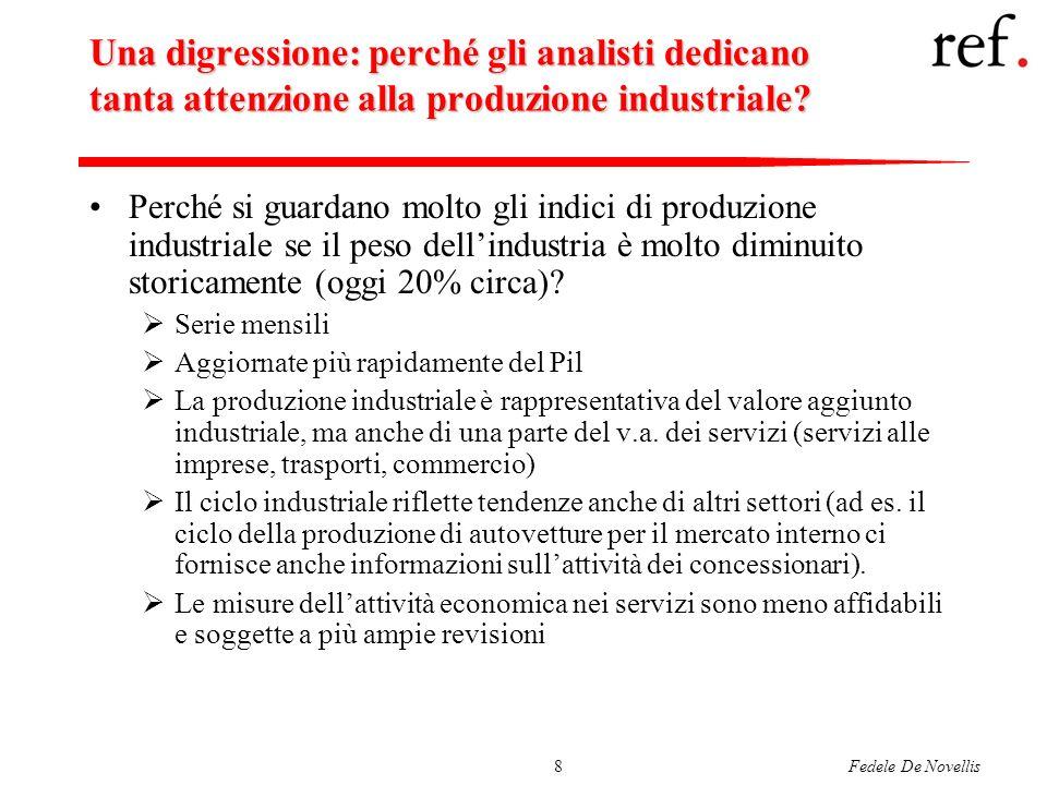 Fedele De Novellis8 Una digressione: perché gli analisti dedicano tanta attenzione alla produzione industriale? Perché si guardano molto gli indici di