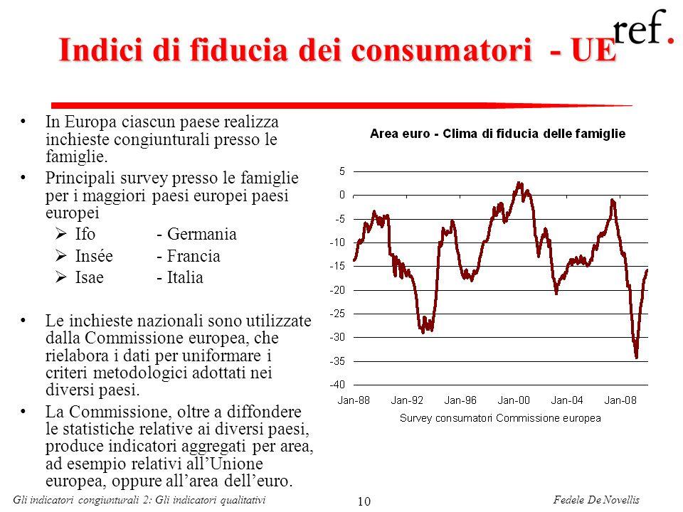 Fedele De NovellisGli indicatori congiunturali 2: Gli indicatori qualitativi 10 Indici di fiducia dei consumatori - UE In Europa ciascun paese realizz