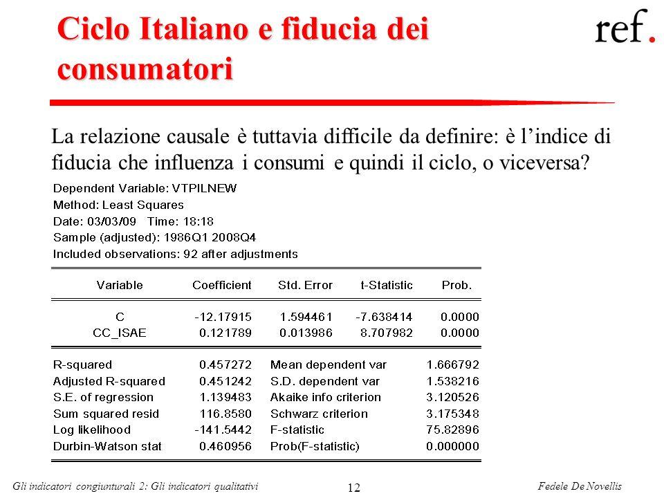 Fedele De NovellisGli indicatori congiunturali 2: Gli indicatori qualitativi 12 Ciclo Italiano e fiducia dei consumatori La relazione causale è tuttav