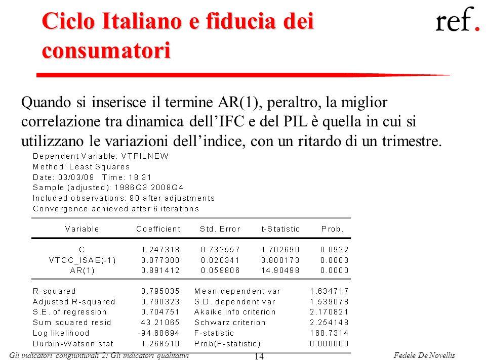 Fedele De NovellisGli indicatori congiunturali 2: Gli indicatori qualitativi 14 Ciclo Italiano e fiducia dei consumatori Quando si inserisce il termin