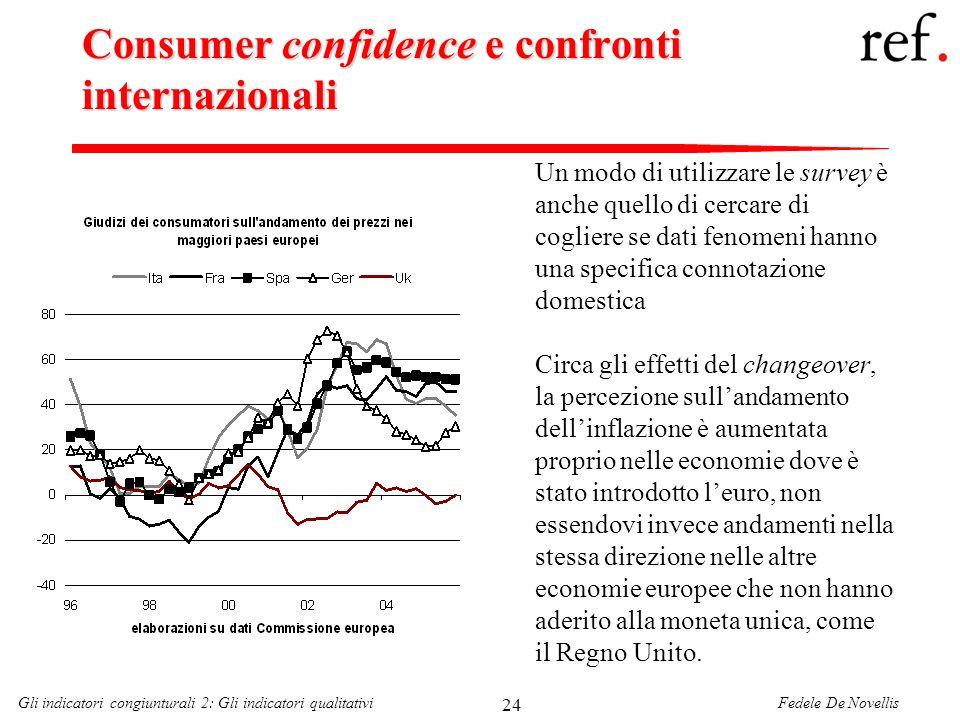 Fedele De NovellisGli indicatori congiunturali 2: Gli indicatori qualitativi 24 Consumer confidence e confronti internazionali Un modo di utilizzare l