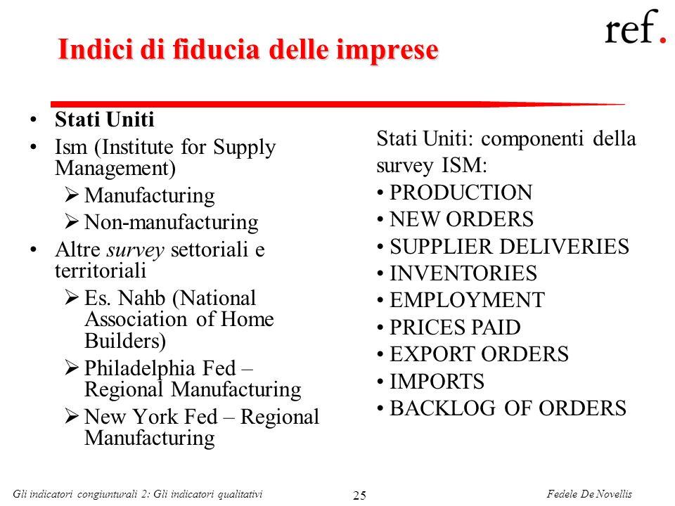 Fedele De NovellisGli indicatori congiunturali 2: Gli indicatori qualitativi 25 Indici di fiducia delle imprese Stati Uniti Ism (Institute for Supply