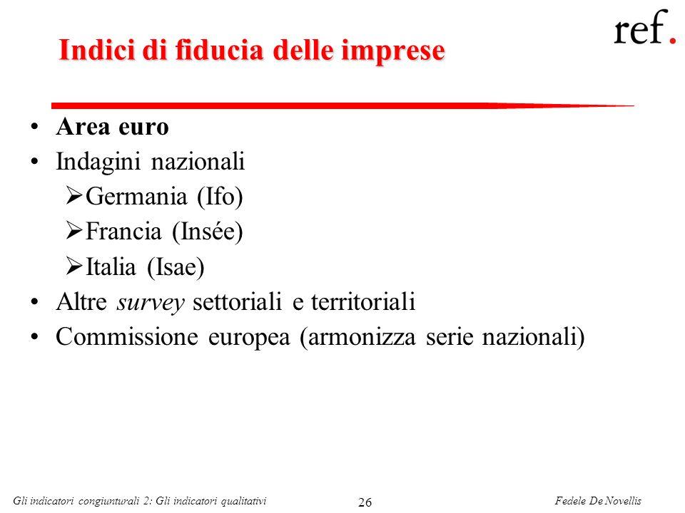 Fedele De NovellisGli indicatori congiunturali 2: Gli indicatori qualitativi 26 Indici di fiducia delle imprese Area euro Indagini nazionali Germania