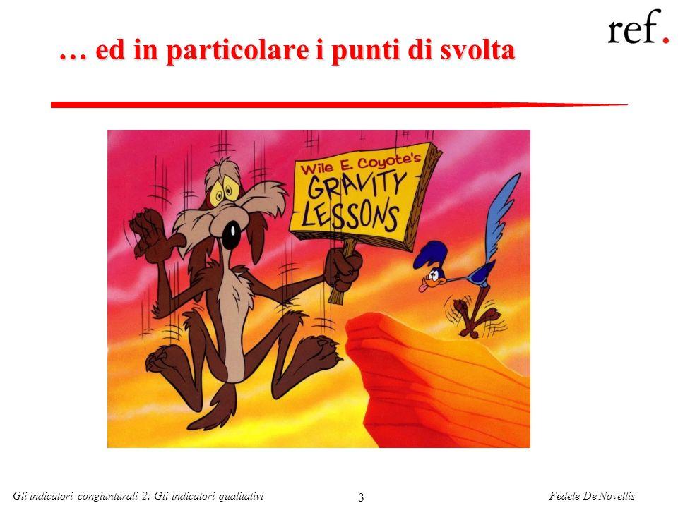 Fedele De NovellisGli indicatori congiunturali 2: Gli indicatori qualitativi 64 Lo studio del ciclo economico italiano Lo studio del ciclo economico secondo la metodologia dellNBER è stato introdotto per la prima volta in Italia dallISCO (ora ISAE) alla fine degli anni Cinquanta.