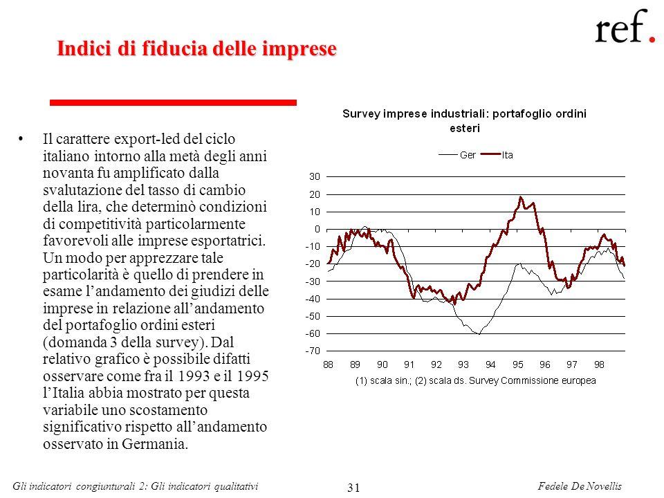 Fedele De NovellisGli indicatori congiunturali 2: Gli indicatori qualitativi 31 Indici di fiducia delle imprese Il carattere export-led del ciclo ital