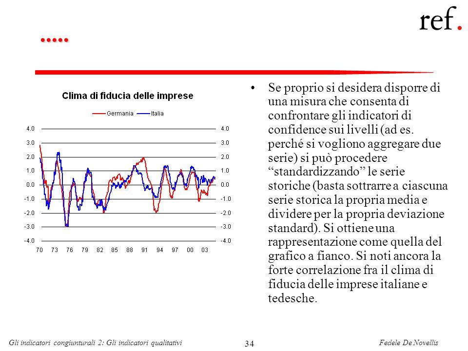 Fedele De NovellisGli indicatori congiunturali 2: Gli indicatori qualitativi 34..... Se proprio si desidera disporre di una misura che consenta di con