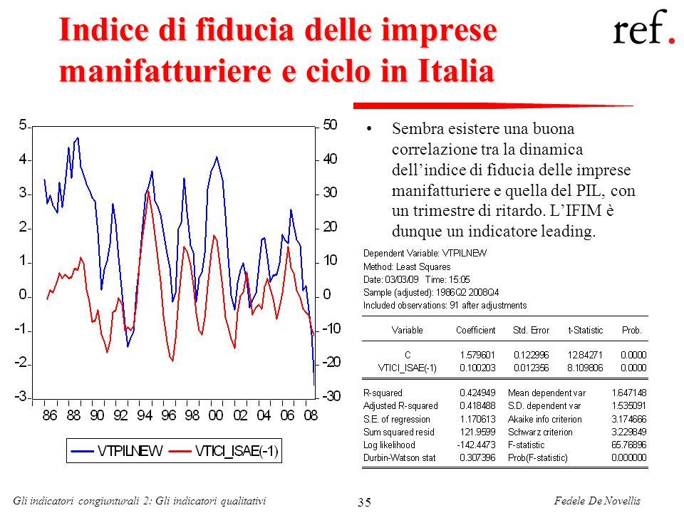 Fedele De NovellisGli indicatori congiunturali 2: Gli indicatori qualitativi 35 Indice di fiducia delle imprese manifatturiere e ciclo in Italia Sembr