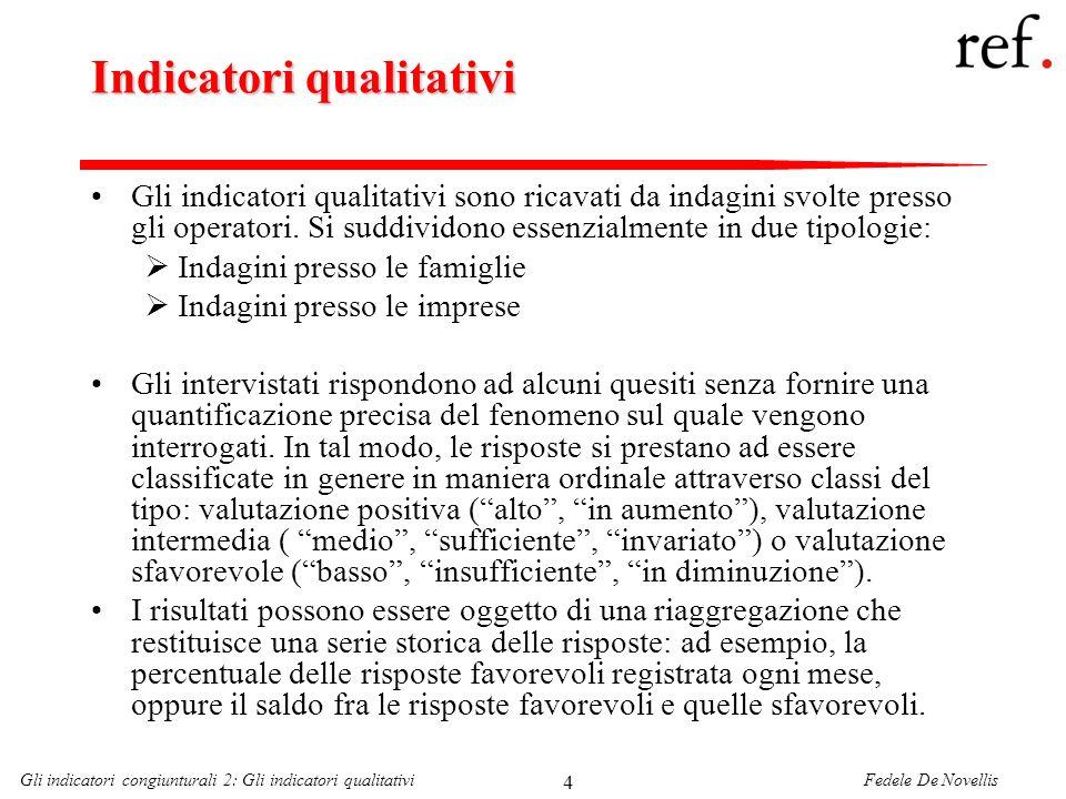 Fedele De NovellisGli indicatori congiunturali 2: Gli indicatori qualitativi 15 Ciclo Italiano e fiducia dei consumatori Il fit della regressione è abbastanza buono; ma attenzione alle previsioni (forecast) quando si utilizzano termini autoregressivi!!!