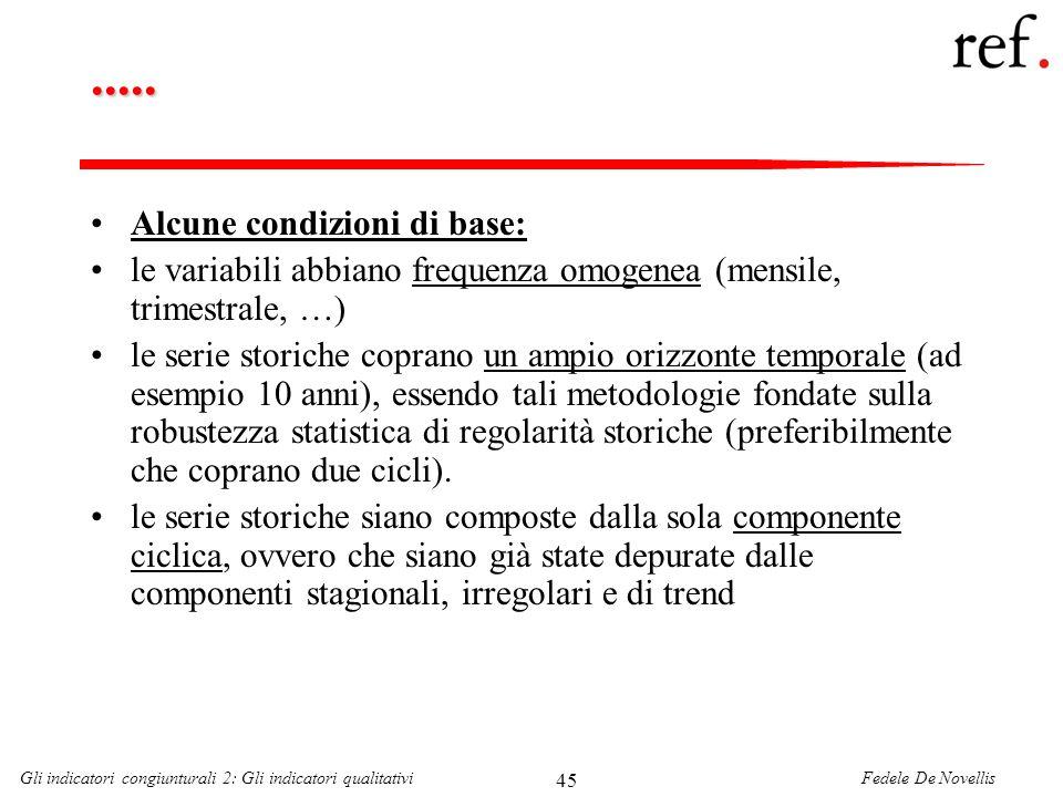 Fedele De NovellisGli indicatori congiunturali 2: Gli indicatori qualitativi 45..... Alcune condizioni di base: le variabili abbiano frequenza omogene