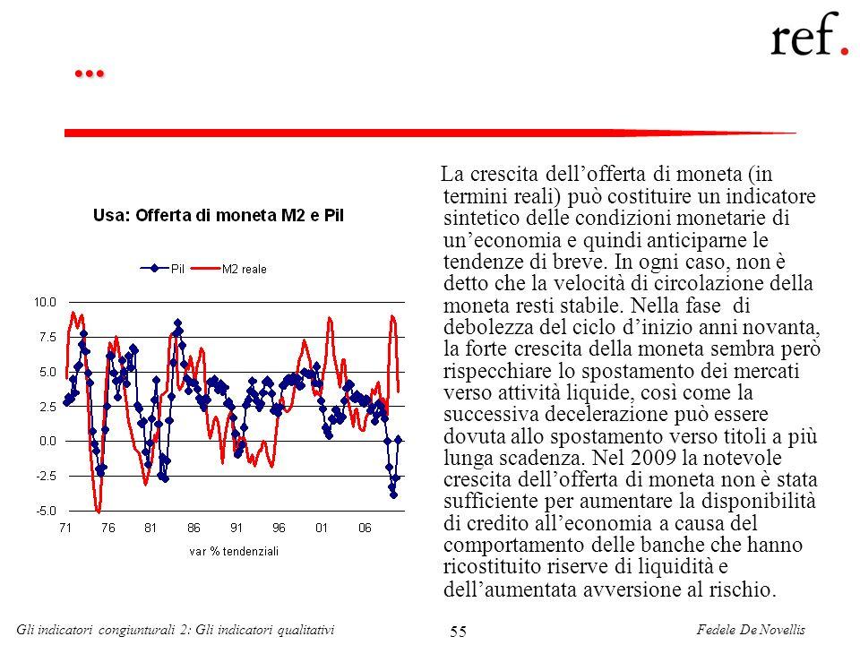 Fedele De NovellisGli indicatori congiunturali 2: Gli indicatori qualitativi 55... La crescita dellofferta di moneta (in termini reali) può costituire