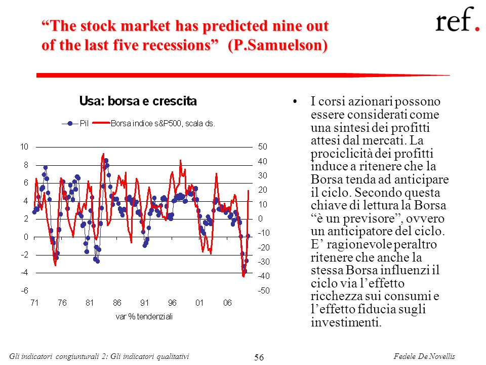 Fedele De NovellisGli indicatori congiunturali 2: Gli indicatori qualitativi 56 The stock market has predicted nine out of the last five recessions (P
