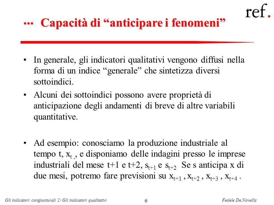 Fedele De NovellisGli indicatori congiunturali 2: Gli indicatori qualitativi 17 Fiducia dei consumatori e crescita dei consumi Una correlazione analoga si ottiene con la dinamica dei consumi– ora però solo con lindice in livelli (R 2 =0,45), anziché nelle sue variazioni (R 2 =0,31)