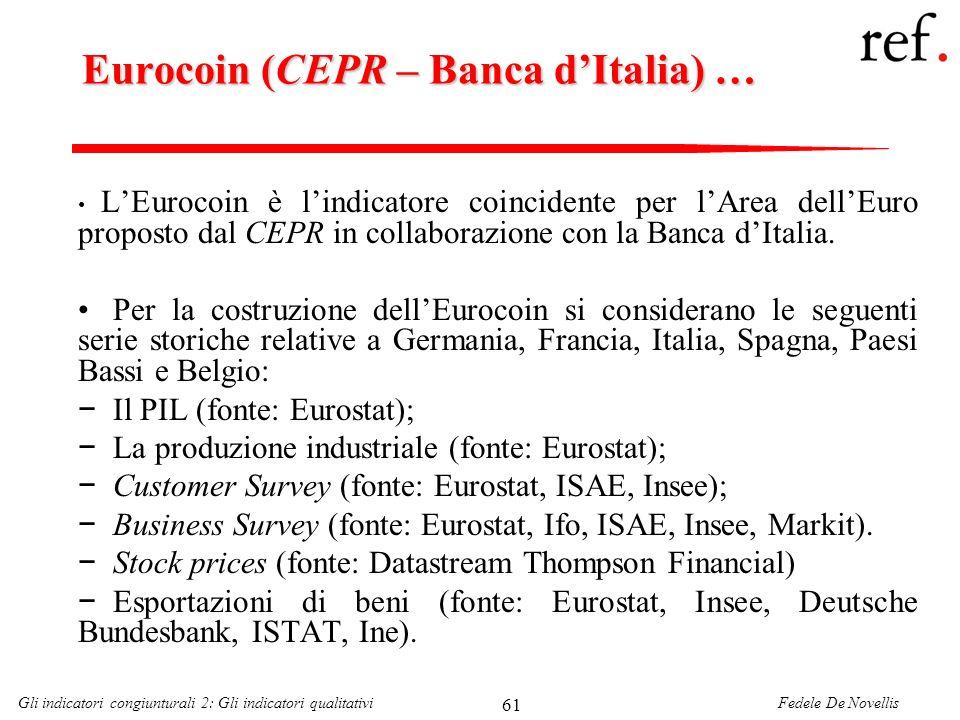 Fedele De NovellisGli indicatori congiunturali 2: Gli indicatori qualitativi 61 Eurocoin (CEPR – Banca dItalia) … LEurocoin è lindicatore coincidente