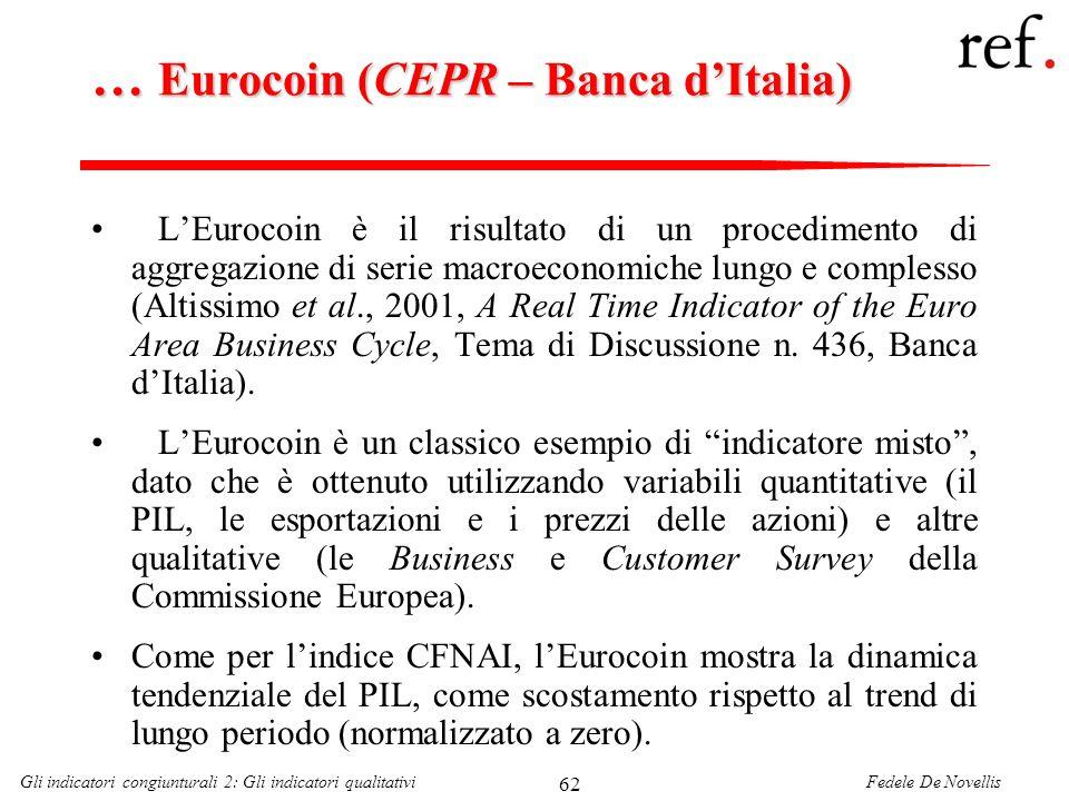 Fedele De NovellisGli indicatori congiunturali 2: Gli indicatori qualitativi 62 … Eurocoin (CEPR – Banca dItalia) LEurocoin è il risultato di un proce
