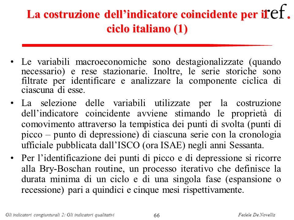 Fedele De NovellisGli indicatori congiunturali 2: Gli indicatori qualitativi 66 La costruzione dellindicatore coincidente per il ciclo italiano (1) Le