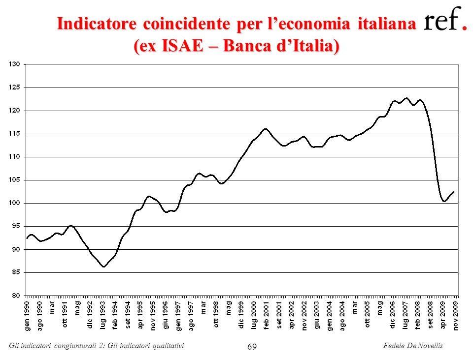 Fedele De NovellisGli indicatori congiunturali 2: Gli indicatori qualitativi 69 Indicatore coincidente per leconomia italiana (ex ISAE – Banca dItalia