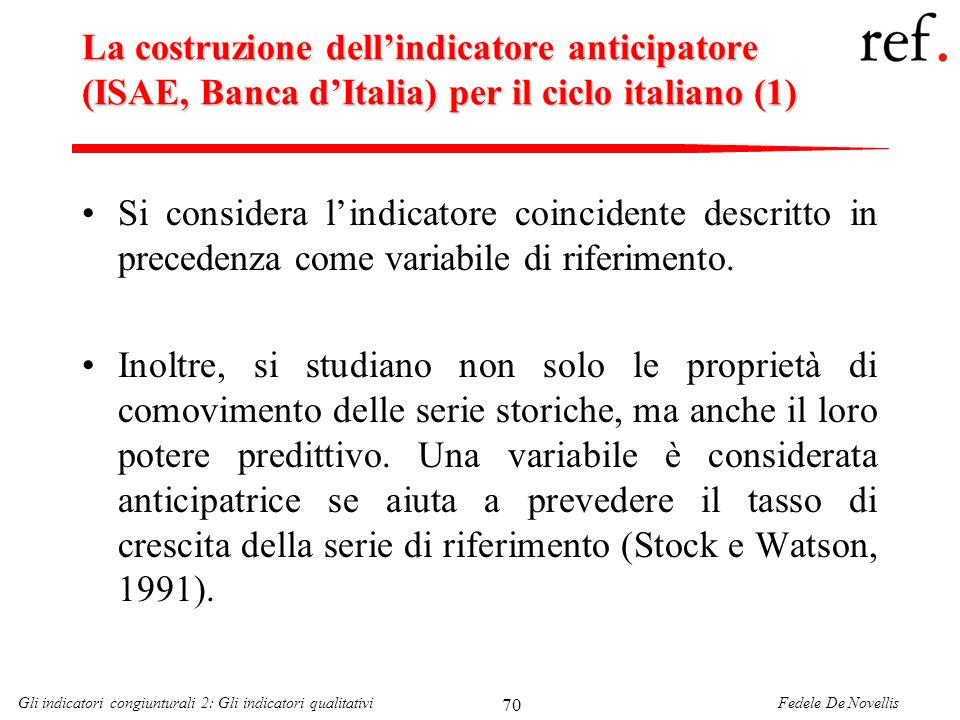 Fedele De NovellisGli indicatori congiunturali 2: Gli indicatori qualitativi 70 La costruzione dellindicatore anticipatore (ISAE, Banca dItalia) per i