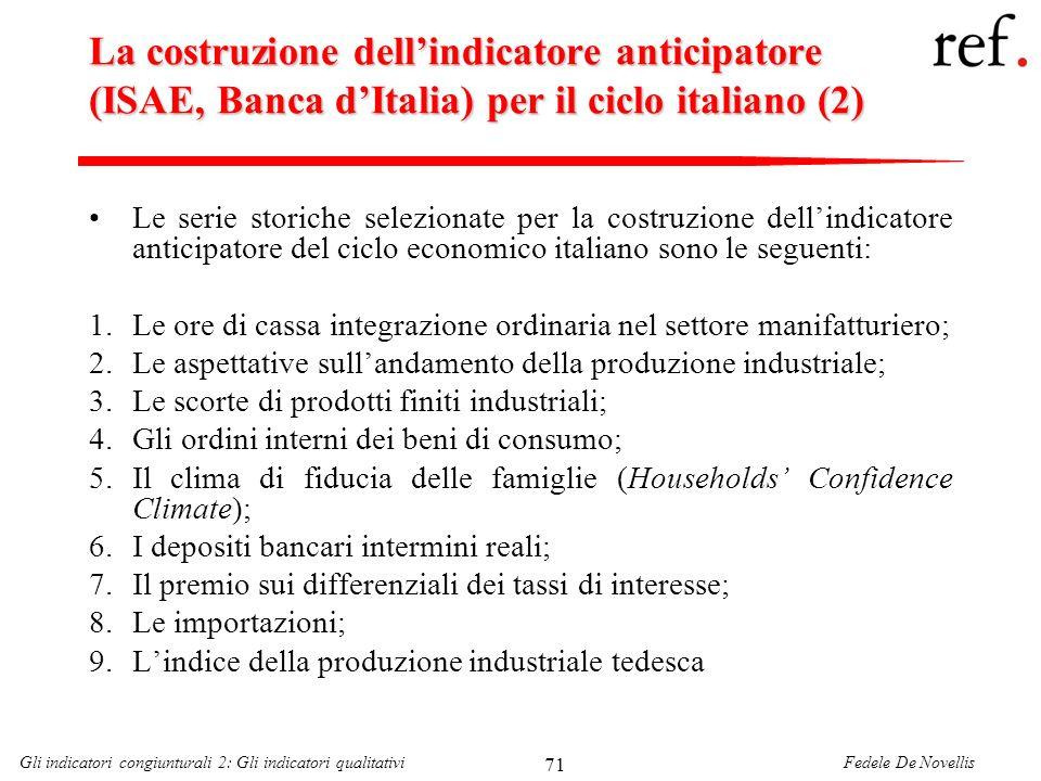 Fedele De NovellisGli indicatori congiunturali 2: Gli indicatori qualitativi 71 La costruzione dellindicatore anticipatore (ISAE, Banca dItalia) per i