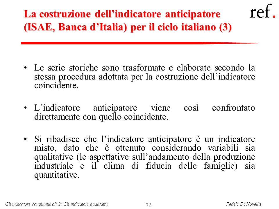 Fedele De NovellisGli indicatori congiunturali 2: Gli indicatori qualitativi 72 La costruzione dellindicatore anticipatore (ISAE, Banca dItalia) per i
