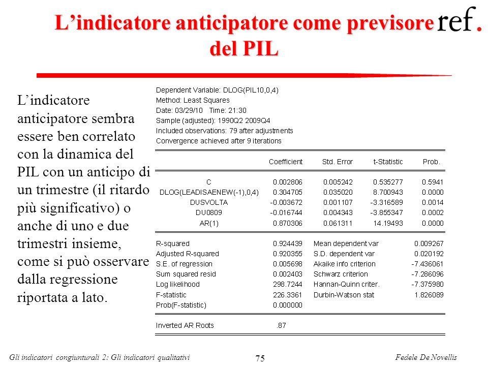 Fedele De NovellisGli indicatori congiunturali 2: Gli indicatori qualitativi 75 Lindicatore anticipatore come previsore del PIL Lindicatore anticipato