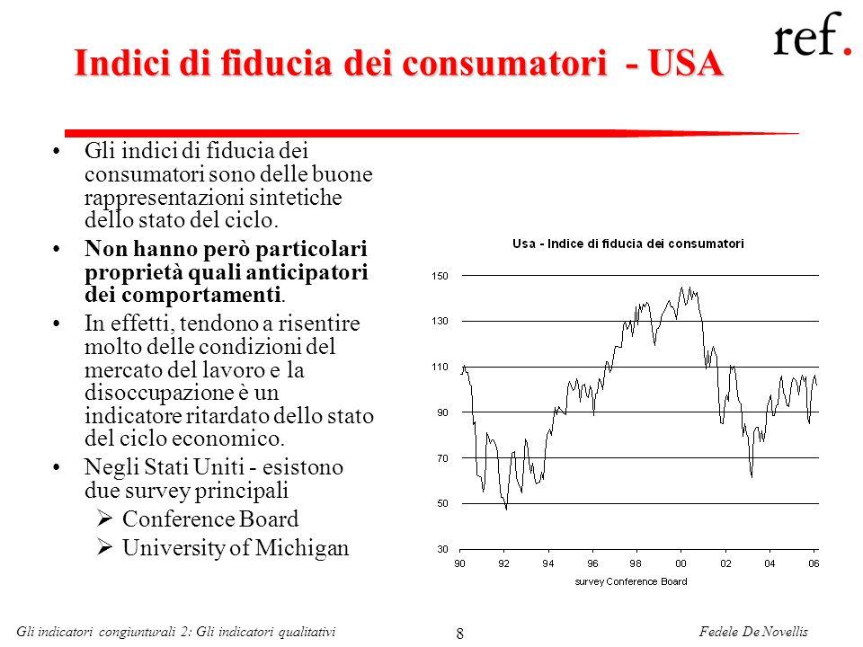 Fedele De NovellisGli indicatori congiunturali 2: Gli indicatori qualitativi 39 In conclusione Lutilizzo degli indicatori qualitativi non si esaurisce nella capacità descrittiva di alcuni andamenti delle variabili quantitative.