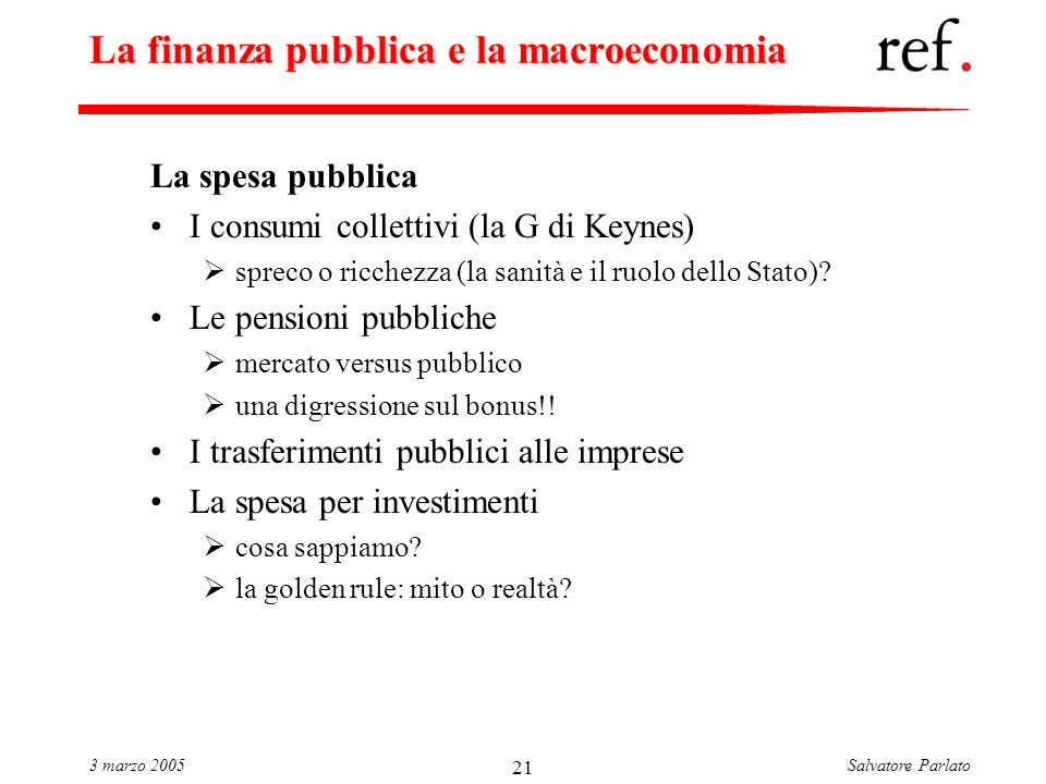 Salvatore Parlato3 marzo 2005 21 La finanza pubblica e la macroeconomia La spesa pubblica I consumi collettivi (la G di Keynes) spreco o ricchezza (la sanità e il ruolo dello Stato).