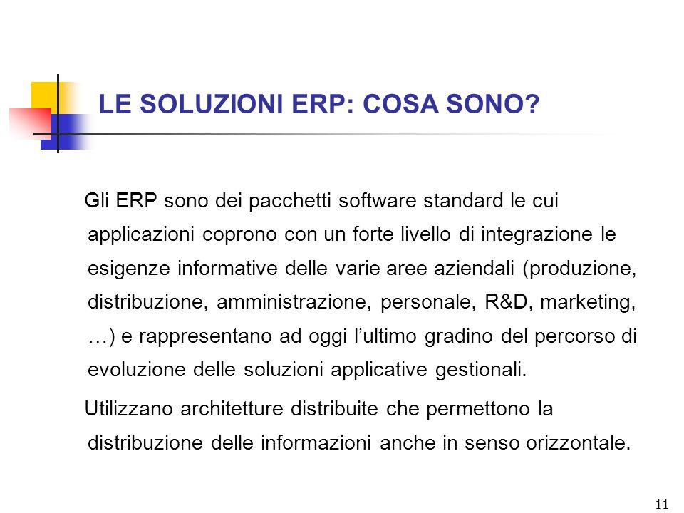 11 LE SOLUZIONI ERP: COSA SONO? Gli ERP sono dei pacchetti software standard le cui applicazioni coprono con un forte livello di integrazione le esige