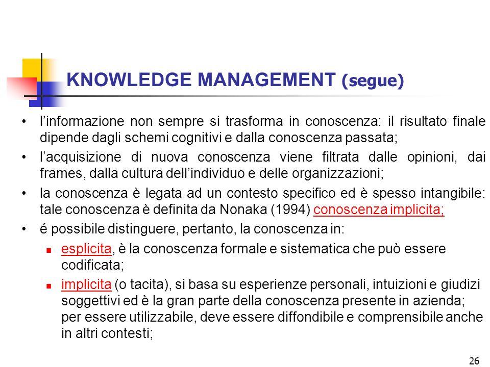 26 linformazione non sempre si trasforma in conoscenza: il risultato finale dipende dagli schemi cognitivi e dalla conoscenza passata; lacquisizione di nuova conoscenza viene filtrata dalle opinioni, dai frames, dalla cultura dellindividuo e delle organizzazioni; la conoscenza è legata ad un contesto specifico ed è spesso intangibile: tale conoscenza è definita da Nonaka (1994) conoscenza implicita; é possibile distinguere, pertanto, la conoscenza in: esplicita, è la conoscenza formale e sistematica che può essere codificata; implicita (o tacita), si basa su esperienze personali, intuizioni e giudizi soggettivi ed è la gran parte della conoscenza presente in azienda; per essere utilizzabile, deve essere diffondibile e comprensibile anche in altri contesti; KNOWLEDGE MANAGEMENT (segue)