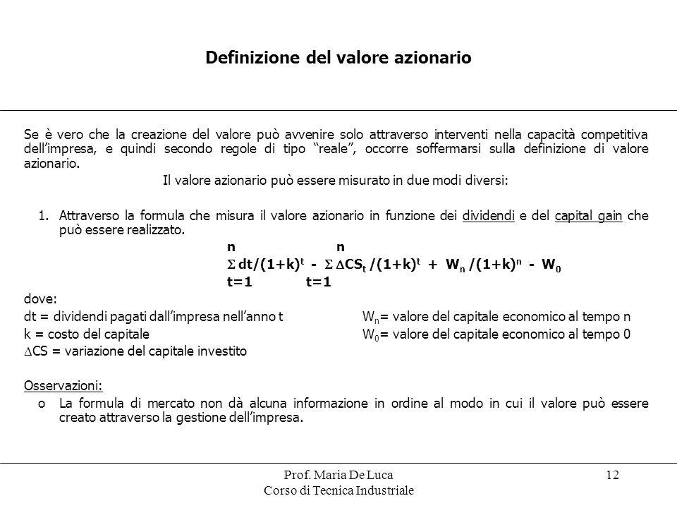 Prof. Maria De Luca Corso di Tecnica Industriale 12 Definizione del valore azionario Se è vero che la creazione del valore può avvenire solo attravers