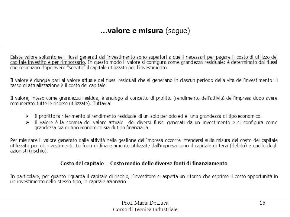 Prof. Maria De Luca Corso di Tecnica Industriale 16 …valore e misura (segue) Esiste valore soltanto se i flussi generati dallinvestimento sono superio