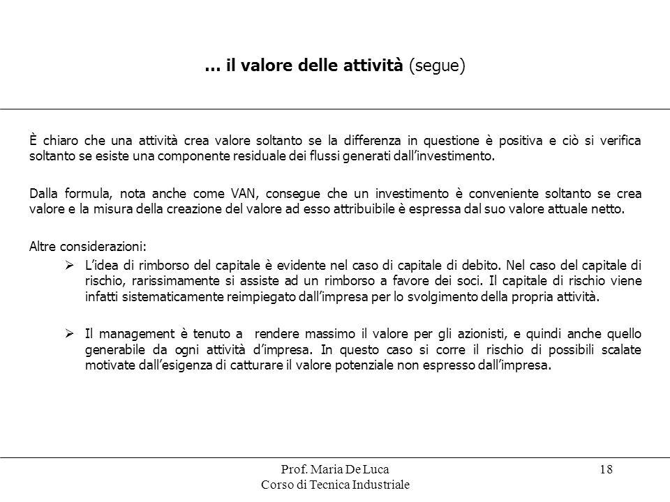 Prof. Maria De Luca Corso di Tecnica Industriale 18 … il valore delle attività (segue) È chiaro che una attività crea valore soltanto se la differenza