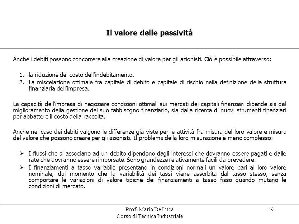 Prof. Maria De Luca Corso di Tecnica Industriale 19 Il valore delle passività Anche i debiti possono concorrere alla creazione di valore per gli azion
