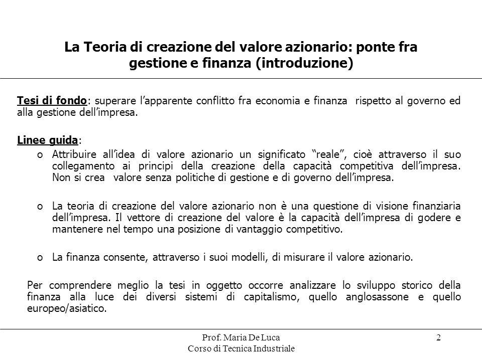 Prof. Maria De Luca Corso di Tecnica Industriale 2 La Teoria di creazione del valore azionario: ponte fra gestione e finanza (introduzione) Tesi di fo