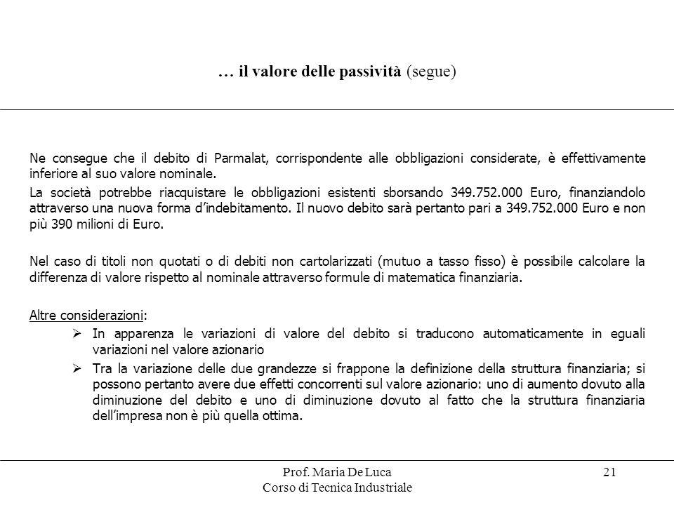Prof. Maria De Luca Corso di Tecnica Industriale 21 … il valore delle passività (segue) Ne consegue che il debito di Parmalat, corrispondente alle obb