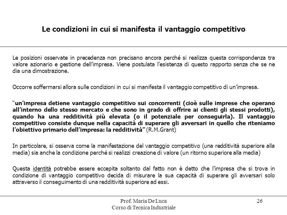 Prof. Maria De Luca Corso di Tecnica Industriale 26 Le condizioni in cui si manifesta il vantaggio competitivo Le posizioni osservate in precedenza no