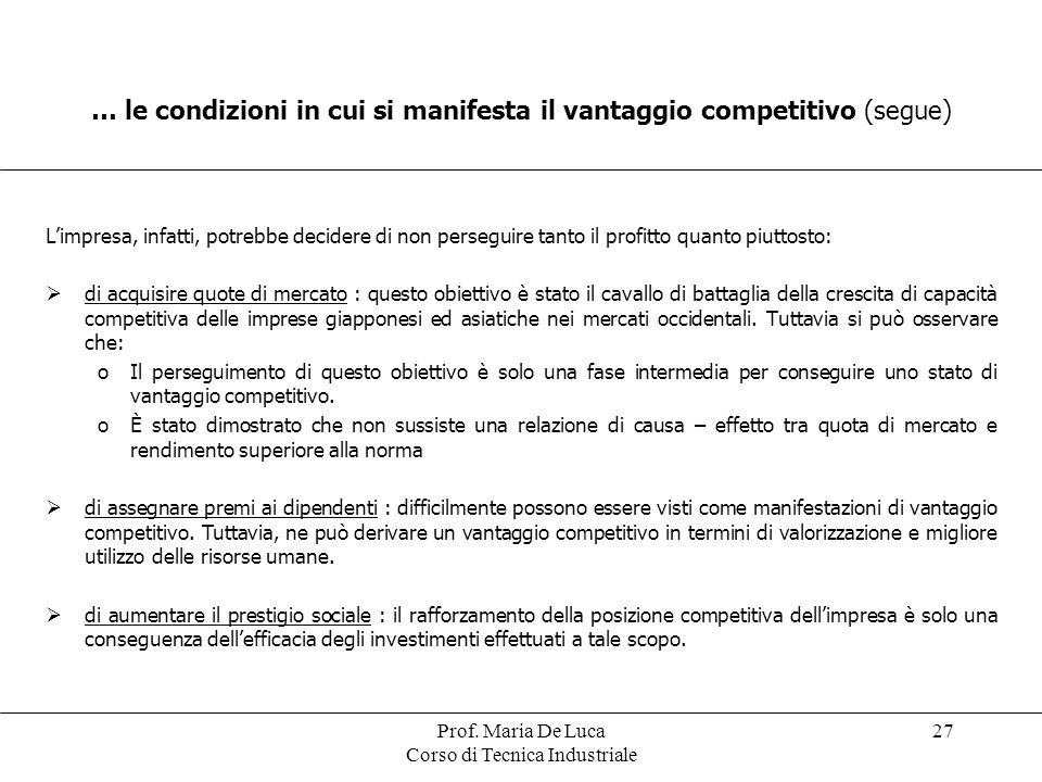 Prof. Maria De Luca Corso di Tecnica Industriale 27 Limpresa, infatti, potrebbe decidere di non perseguire tanto il profitto quanto piuttosto: di acqu