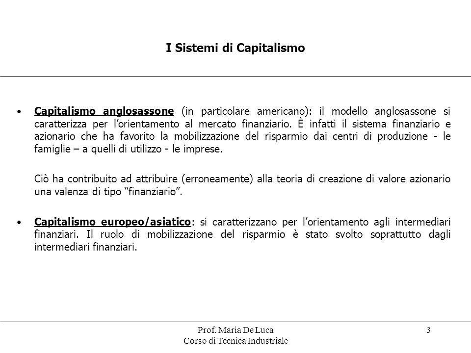 Prof. Maria De Luca Corso di Tecnica Industriale 3 Capitalismo anglosassone (in particolare americano): il modello anglosassone si caratterizza per lo